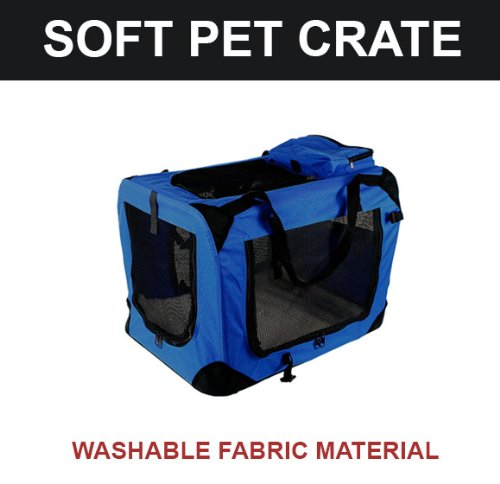 New Xl Dog Pet Puppy Portable Foldable Soft Crate Playpen Kennel House - Blue front-1011416