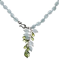 Sterling Silver Aquamarine and Peridot Necklace, 17""