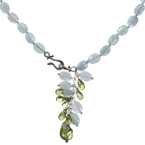 Sterling Silver Aquamarine and Peridot Necklace, 17