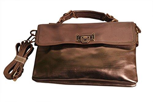 Code West Code Handbag (Brown) (Wc-Metalic-Brown-106)