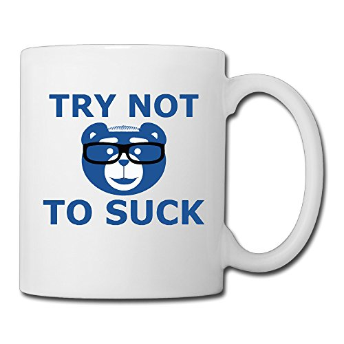 Cool TRY NOT TO SUCK Ceramic Coffee Mug, Tea Cup | Best Gift For Men, Women And Kids - 13.5 Oz, White
