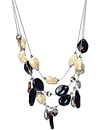 Chooseberry Modern Black Layered Stone Necklace For Girls And Women Western Wear