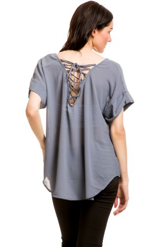 Strap Tie Back Top In Slate