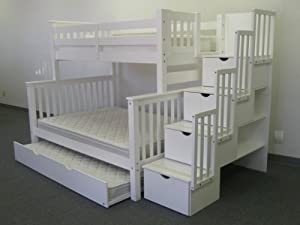 Bedz King Stairway Bunk Bed with 4 Drawers in The Steps and a Twin Trundle, Twin over Full, White