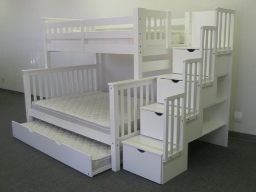 Bedz King Twin Over Full Stairway Bunk Bed with Twin Trundle reviews