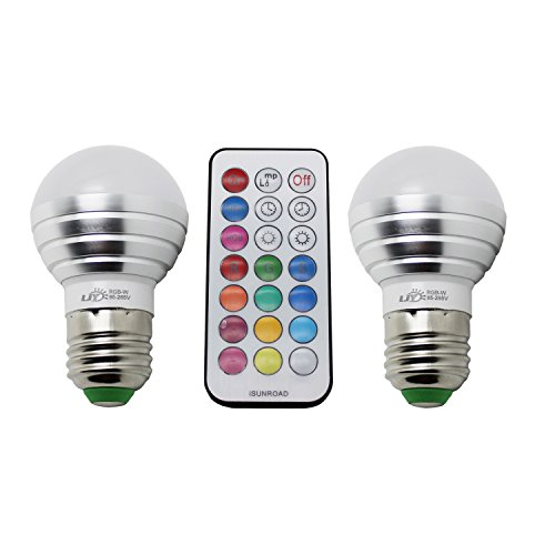 LJY 2-Pack E26/E27 3W RGBW LED Color Changing & Pure Light Bulbs AC 85-265V w/ IR Remote Control & Custom Timing Setting (Light Bulb Cover compare prices)