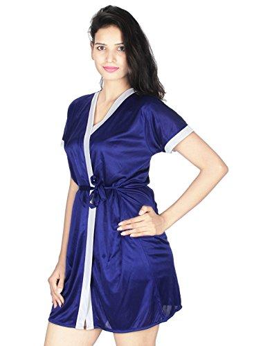 eb06ca8238 41% OFF on Kanika Women Satin Robe With Bra   Panty Set-Blue on Amazon