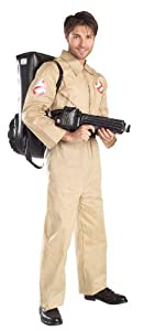 Ghostbusters Costume With Inflatable Backpack, Tan, Adult Standard
