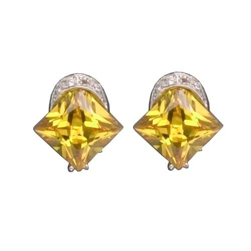 925 Sterling Silver Stud Earrings Rhodium Plated Bezel Set Yellow Citrine CZ w/ omega backs - Incl. ClassicDiamondHouse Free Gift Box & Cleaning Cloth