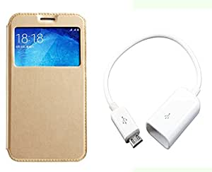 Novo Style Samsung GalaxyJ3 Window View Premium Folio Flip Cover Case W Stand View+ Micro USB OTG Cable Attach Pendrive Card Reader Mouse Keyboard to Tablets Mobile