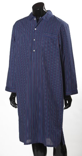Lloyd Attree & Smith Luxurious Nightshirt - Navy, Red and Blue Stripe