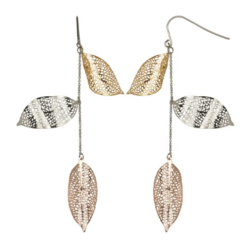Stainless Steel Multi-Color Leaf Dangle French Wire Earrings