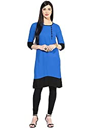 Varibha Girl's Branded Stitched Solid Blue Cotton Silk Low Price Kurti (Best Gift For Your Friend, Girlfriend, Wife, Sister, Casual, Free Size alterable till 42)