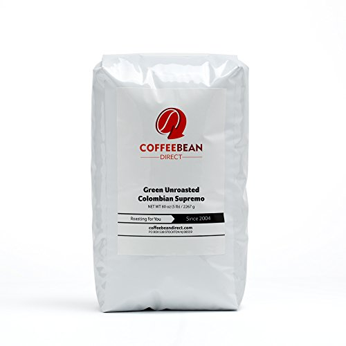 Green Unroasted Colombian Supremo, Whole Bean Coffee, 5-Pound Bag (Green Coffee Beans Columbian compare prices)