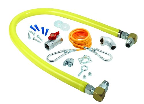 T&S Brass HG-2C-24SK Gas Hose with Free Spin Fittings, 1/2-Inch Npt, 24-Inch Long, Installation Kit and Swivelink Fittings