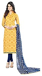 Ethnic For You Chanderi Unstitched Salwar Suit Dress Materials(Yellow)