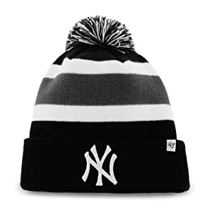 New York Yankees Black Breakaway Beanie Hat with Pom - MLB NY Cuffed Winter Knit... by