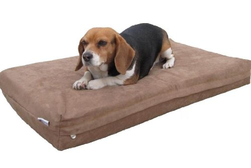Medium Large Waterproof Orthopedic Memory Foam Pet Dog Bed With Rewashable Microsuede Cover + Free Bonus Case