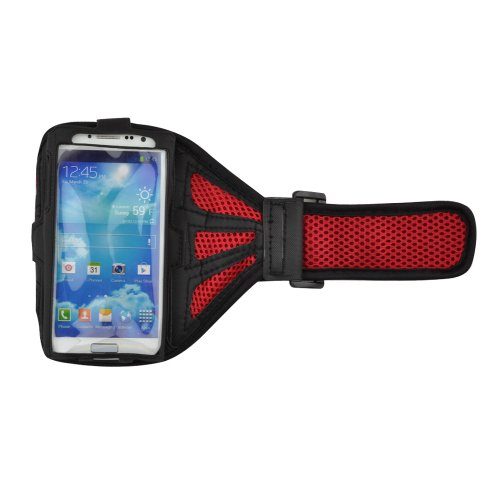 Red / Black Adjustable Fenestral Fabric Running Armband For Samsung Galaxy S4 / S3 / Htc One / Iphone 4 / Iphone 4S / Iphone 5 / Iphone 5S