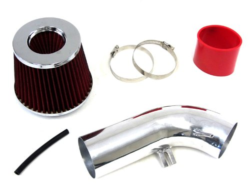 10-13 Volkswagen Golf Tdi 2.0L Diesel Turbo Mk6 Polish Cool Ram Air Intake Kit W/ Red Filter front-562156