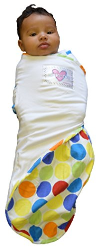 Go Mama Go Snug and Tug Adjustable Swaddling Blanket, Rainbow Love/Premie