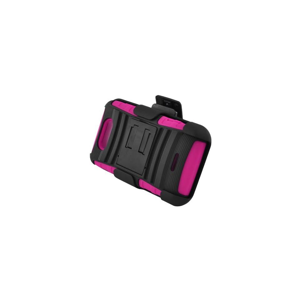LG Motion 4G [MetroPCS] Hybrid Double Layer Skin + Rhino Armor Case w/ Holster & Swivel Belt Clip Combination (Hot Pink / Black)