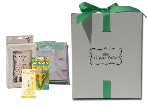 Hippo Tails Green with Beige Trim Miracle Blanket, Sophie Giraffe, Piyo Baby Nail Scissors, & Baby Banana Brush Gift Set