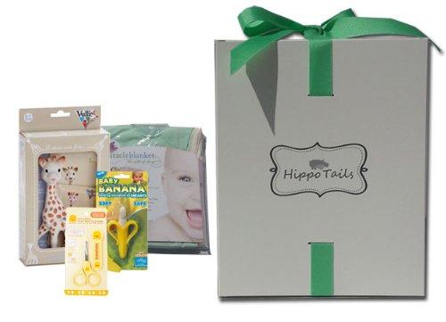 Hippo Tails Green with Beige Trim Miracle Blanket, Sophie Giraffe, Piyo Baby Nail Scissors, & Baby Banana Brush Gift Set