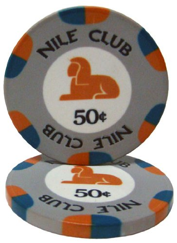 25 $.50 Nile Club 10 Gram Ceramic Casino Quality Poker Chips