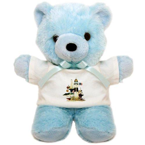 Teddy Bear Blue Nautical Vintage Lighthouse Telescope Steering Wheel Anchor And Ships