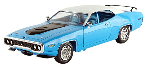 auto-world-amm1012-plymouth-road-runner-1971-echelle-1-18-bleu-blanc-noir