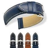 HIRSCH Heavy Calf L, Contrast Stitching Watch Strap in Blue, 22 mm, Steel Buckle