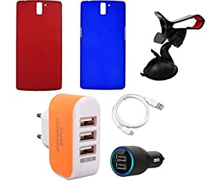 NIROSHA Cover Case Car Charger USB Cable Mobile Holder Charger for - Combo