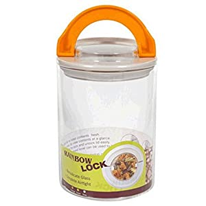 Canister jar clear glass 1l 35 oz orange rainbow lock airtight for kitchen or for Clear bathroom containers