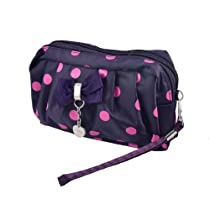 Ladies Nylon Lining Zipper Closure Boxtie Accent Shoulder Bag Purple Fuchsia