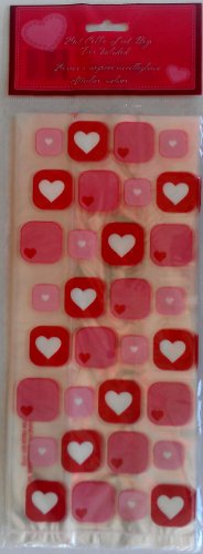 25pcs Square Hearts Flat Cello/Cellophane/Loot Treat Bag 11.5 x 5 inch