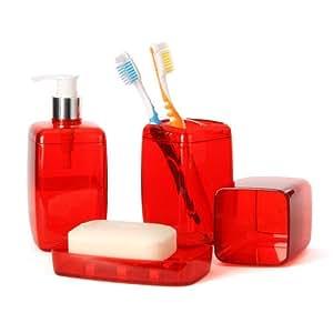 Red bathroom accessory set soap dispenser for Bathroom decor amazon