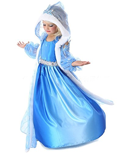 UUstar® Prinzessin Kostüm Karneval Verkleidung Party Cosplay Kleid Anna Elsa (130, Elsa 3)