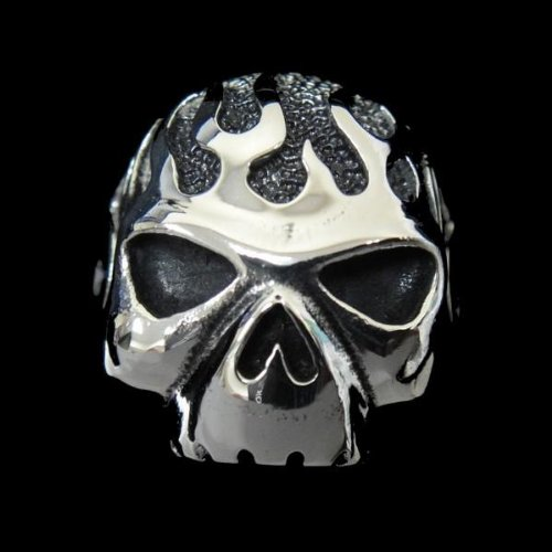 The Biker Metal 316L Stainless Steel Men's Iron Man Skull Head Ring for Harley Rider Motor Biker TR-66 by Priority Mail