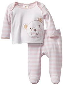 ABSORBA Baby-Girls born Stripe Two Piece Footed Pant Set by ABSORBA