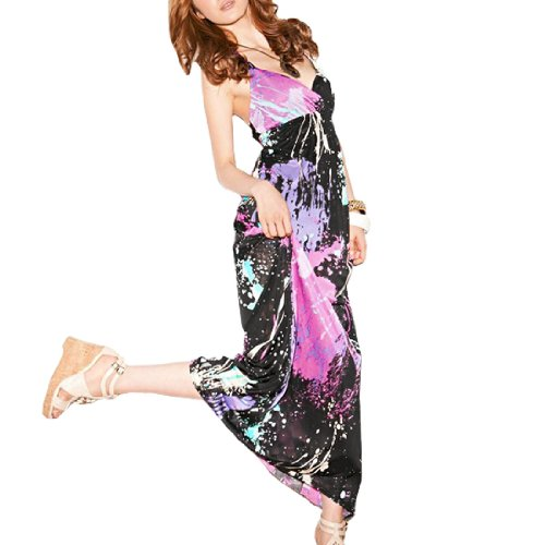 Women Self Tie Halter Strap BOHO Long Dress Black Purple XS
