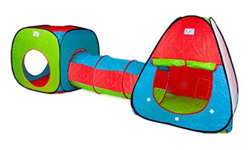 Inside Out Toys - Set Pop Up di tenda e tunnel da gioco bambini, colore: Rosso/Verde/Blu