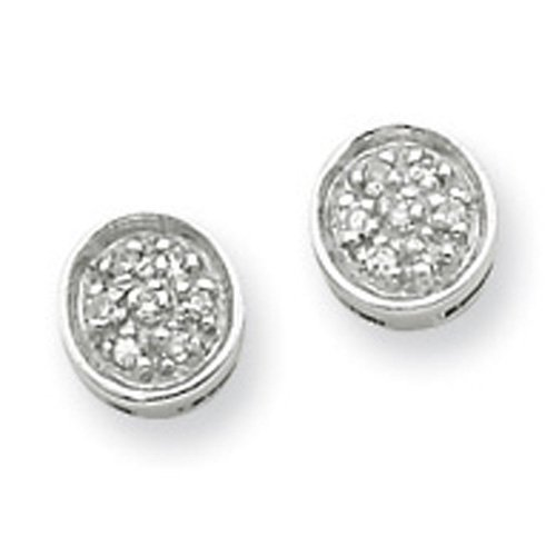 Sterling Silver Rhodium Diamond Circle Post Earrings