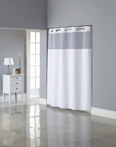 Hookless Square Tile Jacquard Shower Curtain with Snap In