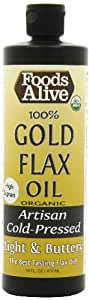 Foods Alive High Lignan 100% Golden Flax Oil, 16-Ounce