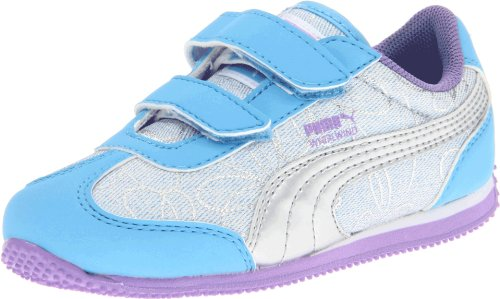 PUMA Whirlwind Swirl V Sneaker (Toddler/Little Kid/Big Kid),Blue/Silver/Purple,4 M US Toddler