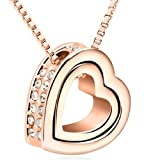 Mondaynoon Swarovski Elements Crystal Pendant Necklace for Women Forever Love, Heart-shaped