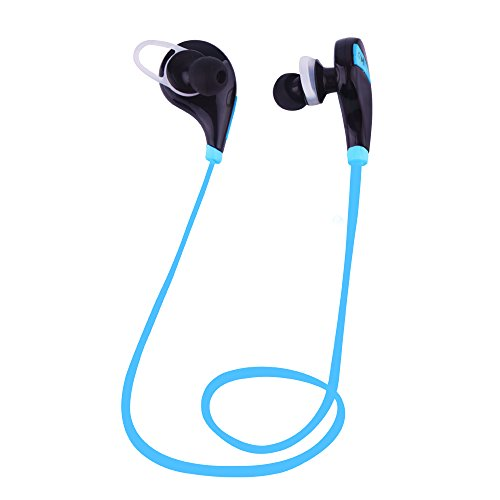 Sunvito Wireless Bluetooth 4.0 Headphone, Mini Lightweight In Ear Sweatproof with Microphone for iPhone, iPad, iPod, Android, Samsung Galaxy, Smart Phones Bluetooth Devices (Black+blue)