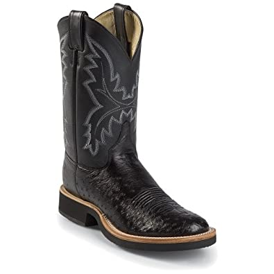 Justin Men's Smooth Ostrich Tek Crepe Cowboy Boot Round Toe Black 8.5 D(M) US