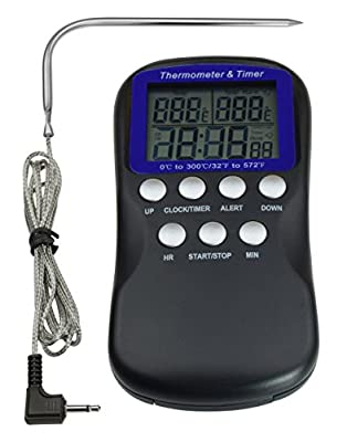 SHARKK Digital Grill Thermometer Stainless Steel Meat Thermometer Probe with Cooking Timer High Temperature Range BBQ Kitchen Thermometer